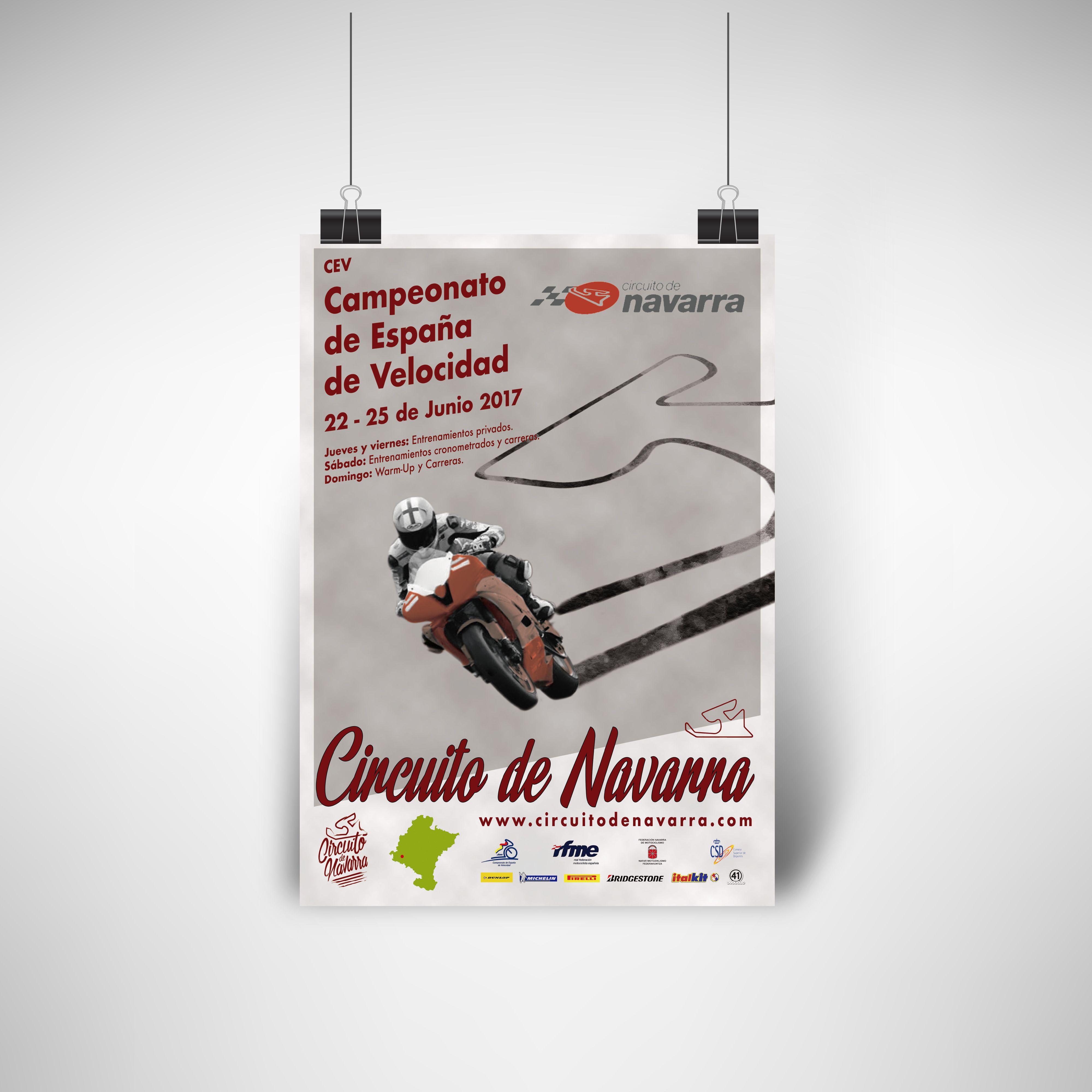 el estudio verde, cartel evento, diseño gráfico, diseño web, circuito de navarra, cev 2017, carrera, moto, ismael pérez arana
